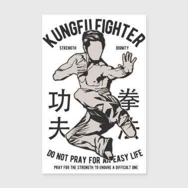 KUNG FU FIGHTER - Martial Arts Gifts Shirts - Poster 8 x 12