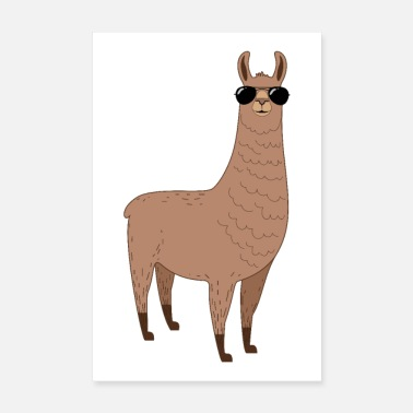 Alpaca Alpaca with sunglasses - Poster 8 x 12