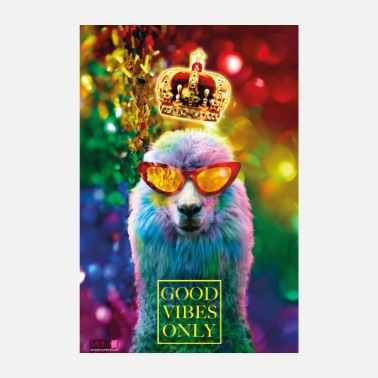 Luxury 01 Lama GOOD VIBES ONLY Luxury Poster Margarita Art - Poster 8 x 12