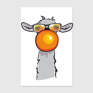 Chewing Llama - Poster 20x30 cm
