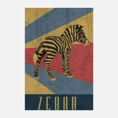Safari Zebra Retro Steppenzebra Afrika Safari - Poster