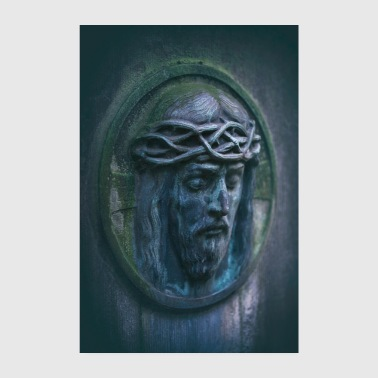 Weather Jesus portrait tombstone moss oval weathered - Poster 8 x 12