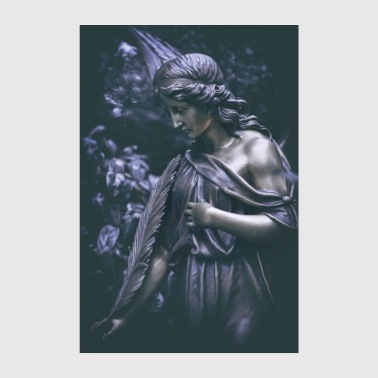 Grave Angel Bronze Figure Cemetery Angel Grief - Poster 20x30 cm