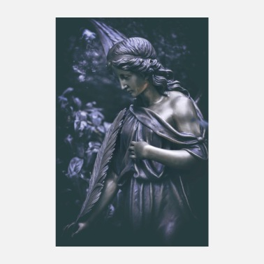 Grave Grave Angel Bronze Figure Cemetery Angel Grief - Poster 8 x 12