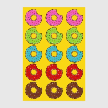 Poster donut donuts bite colorful yellow cookie cookie - Poster 8 x 12