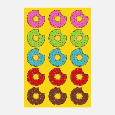 Baker Poster donut donuts bite colorful yellow cookie cookie - Poster