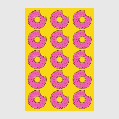 Sulten Plakat donut donuts bid rosa gul bage yummy - Poster 20x30 cm