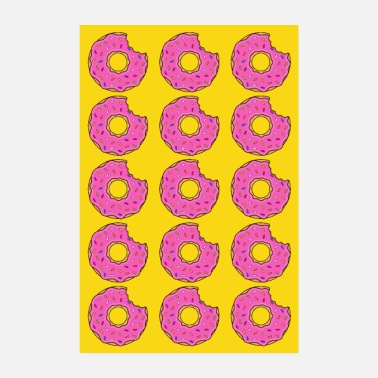 Baker Poster donut donuts bite pink yellow bake yummy - Poster 8 x 12