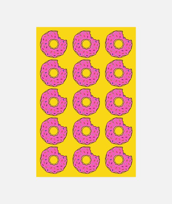 Cookie Poster - Poster Donut Donuts Biss pink gelb backen lecker - Poster Weiß