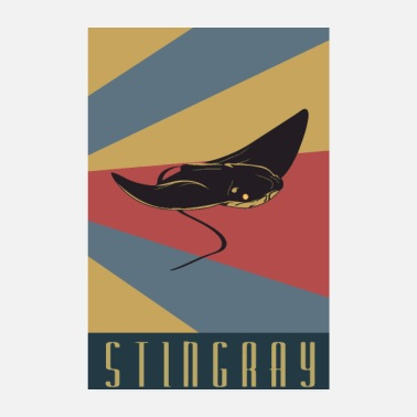 Raies Stingray stingray rétro ray - Poster 20 x 30 cm