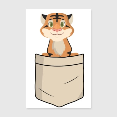 Tiger in shirt pocket (animal children) - Poster 8 x 12