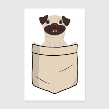 Pug in shirt pocket (animal children) - Poster 8 x 12
