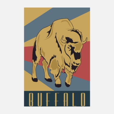 Old School Buffalo Old school Retro Wisent - Poster 20x30 cm