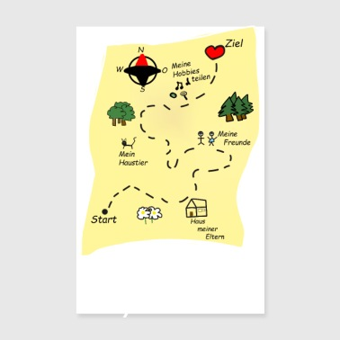 Way to my heart treasure map gift girlfriend - Poster 8 x 12