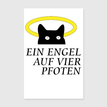 Cat with halo.An angel on four paws - Poster 8 x 12