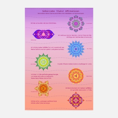 Yoga Chakra affirmations for more self-love - Poster 8 x 12