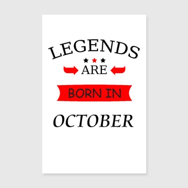 legends are born in october birthday birth - Poster 8 x 12