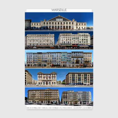 Marseille Streetline Fronts - Poster 8 x 12