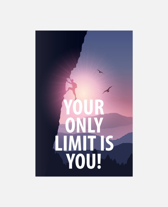 Training Poster - Motivationsposter Your only limit is you - Poster Weiß