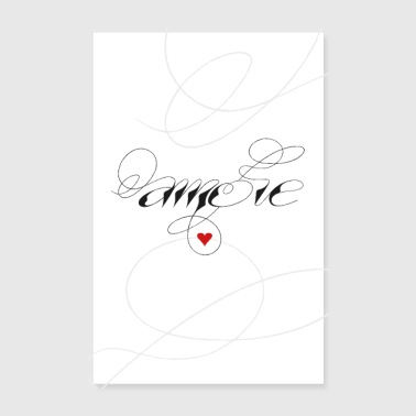 Romantic Amore, love, heart, calligraphy - Poster 8 x 12