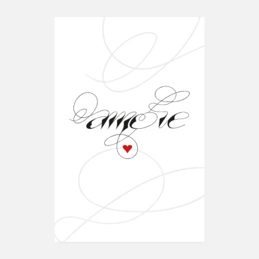 Chambre À Coucher Amore, amour, coeur, calligraphie - Poster 20 x 30 cm