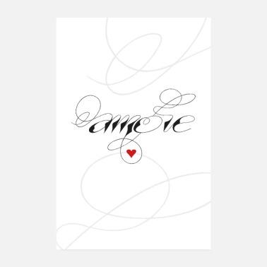 slaapkamer amore liefde hart kalligrafie poster 20x30 cm