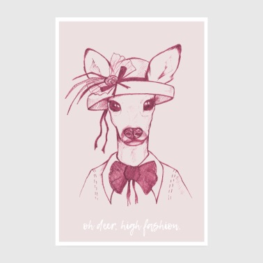 Wall Prints Cool Oh Deer - Rosa - Poster 8 x 12