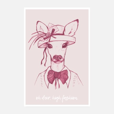 Tiere Oh Deer – Rosa - Poster 20x30 cm