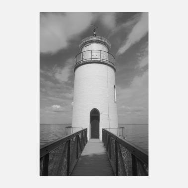 Cruise Romantic lighthouse in black and white - Poster 8 x 12