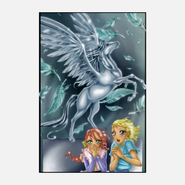 Post 2 girls with Pegasus - Poster 8 x 12