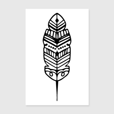 Tribe Feather Shape Maori Tattoo Ancient Tribe - Poster 8 x 12