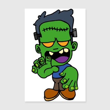 Halloween zombie Frankenstein monster scar head - Poster 8 x 12