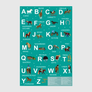 Alphabet Alphabet learning poster horses for elementary students - Poster 8 x 12