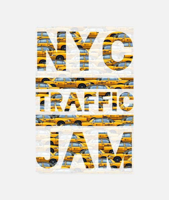 New York Poster - NYC traffic jam taxi New York yellow cab big apple - Poster Weiß