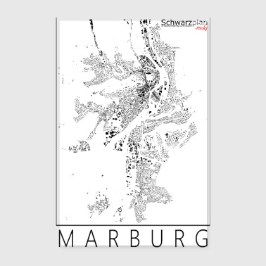 Schwarzplan Marburg Figureground Diagram - Póster 20x30 cm