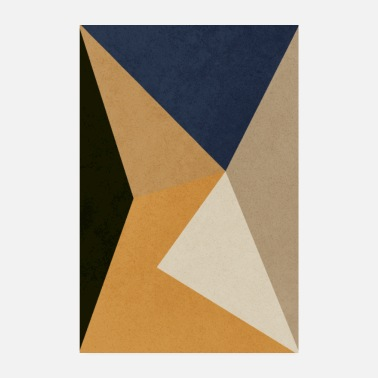 MINIMAL, NEUTRAL, TRIANGLES, AZTEC GOLD, PERU, DUNKLE VAN - Poster 20x30 cm