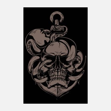 Heavy Metal Skull And Octopus - Poster 20x30 cm