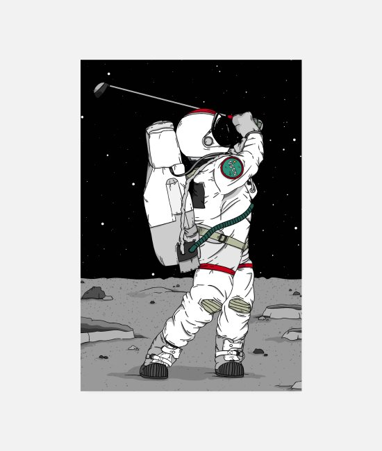 "Handicap Posters - Astronaut ""golf on the moon"" - Posters white"