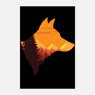 Technology Wolf's head silhouette | Pack Moon Wolf Gift - Poster 8 x 12
