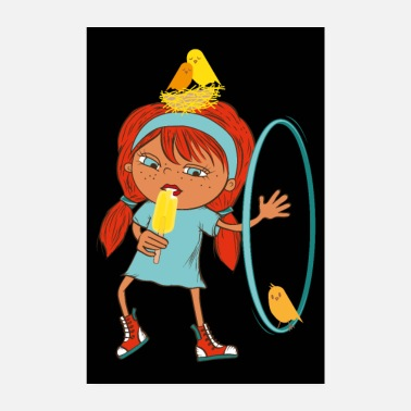 Schwarz cool kids poster bird - girl - black - Poster 8 x 12