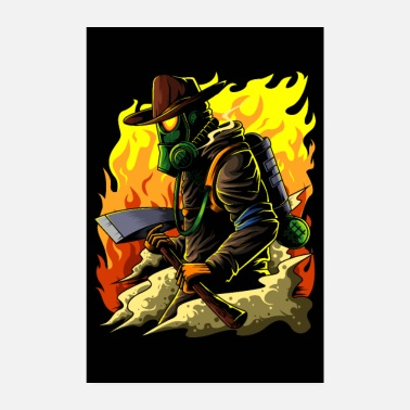 Brand Firefighter Illustration - Firefighter Hero Brand - Poster 8 x 12