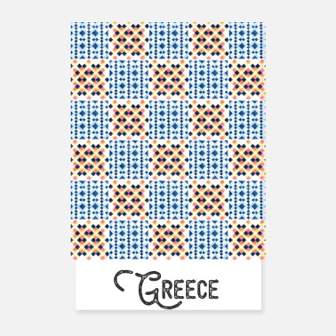 Teal Greece pattern blue oriental tile tiles - Poster 8 x 12