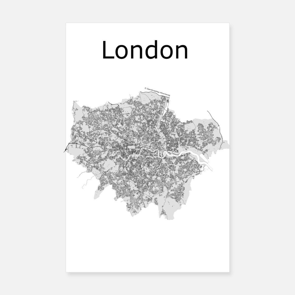 Cartina Stradale Londra.Mappa Stradale Stilizzata Londra Poster Spreadshirt