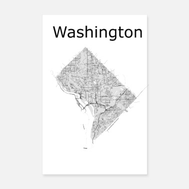 Washington mappa stradale stilizzata Washington - Poster