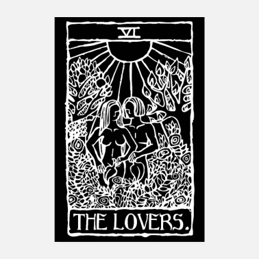 Witchcraft The Lovers Tarot Card Black Poster - Poster