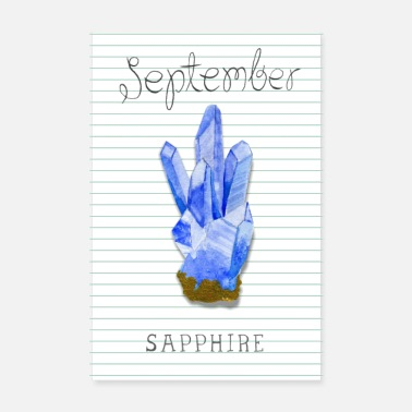 Watercolour September Birthstone Sapphire - Poster 8 x 12