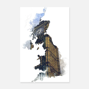 Kingdom Map of UK - Poster 8 x 12
