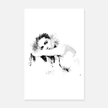 Sensuell Ritning sexig skönhet på stol svart och vitt - Poster c4ce0e86863fb