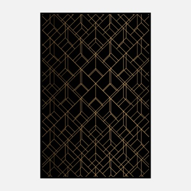 Dice Gold Geometry on Black Print Design - Poster 8 x 12