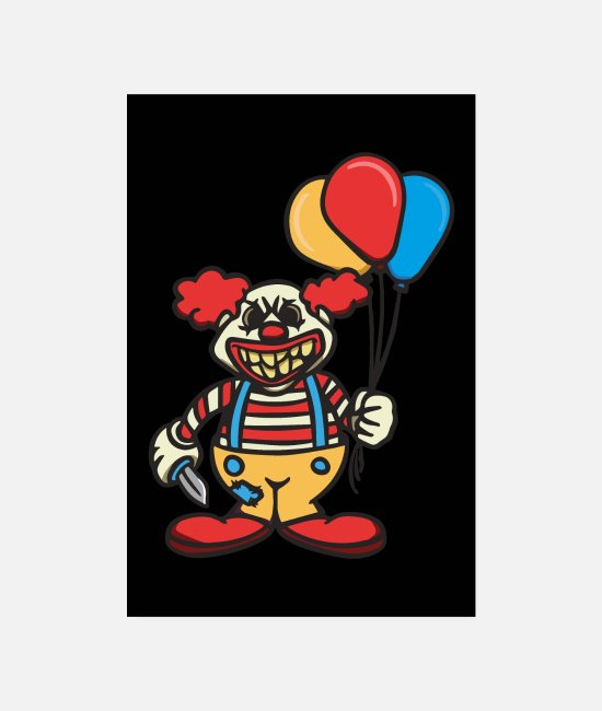 Shrovetide Posters - Bad Horror Clown Funny Gift Carnival Fan - Posters white